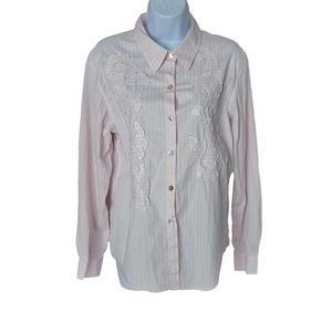 Chico's Shirt Pink Pin Stripe Embroidered sz12 (2)